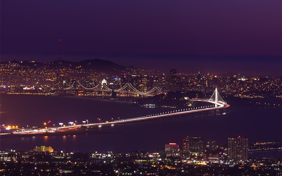 Wallpaper San Francisco, night, bridge, city, lights, sea, USA