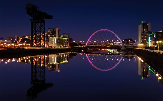 Fondos de pantalla Escocia, Reino Unido, río, luces, puente