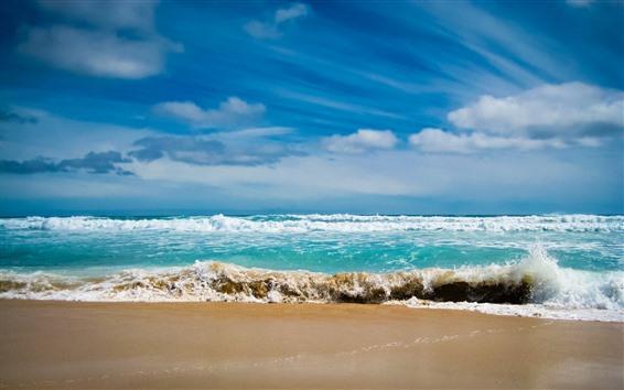 Wallpaper Sea, beach, waves, water, foam