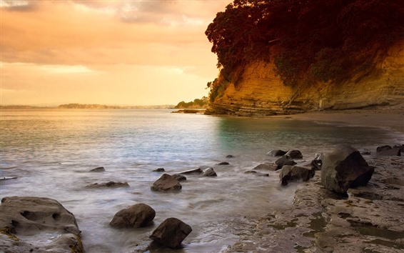 Обои Море, закат, скалы, скалы