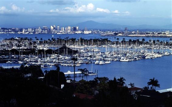 Fond d'écran Shelter Island, San Diego, USA, yachts, mer