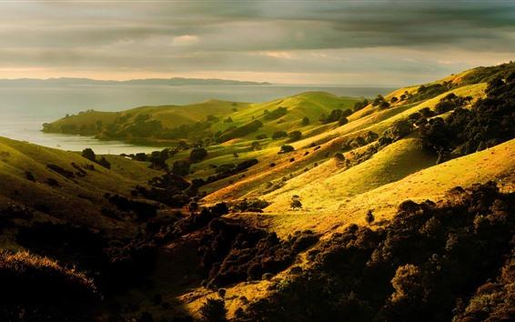 Papéis de Parede Encosta, colinas, lago, prados, paisagens da natureza
