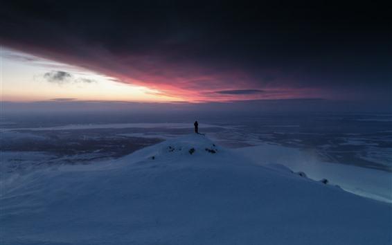 Wallpaper Snow, sunset, winter, sky, person