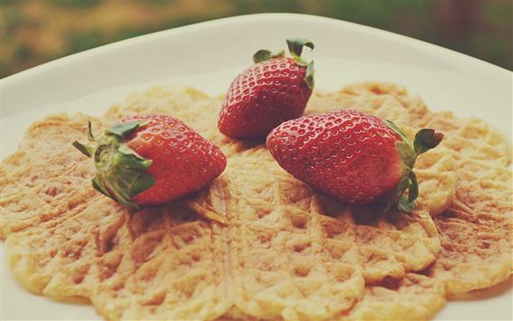 Wallpaper Strawberries, pancake
