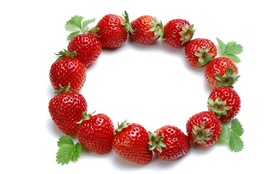Wallpaper Strawberries, round, white background