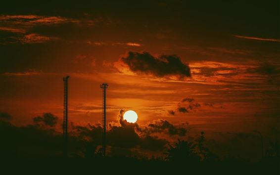 Papéis de Parede Pôr do sol, nuvens, céu, escuridão, silhueta