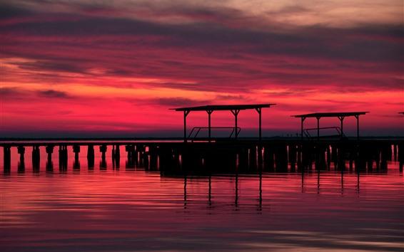 Wallpaper Sunset, pier, silhouette, river, red sky