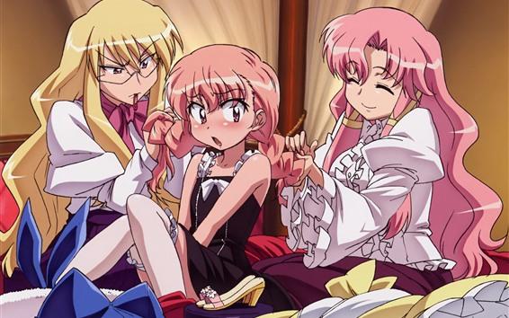 Обои Три аниме девушки, счастливые, длинные волосы