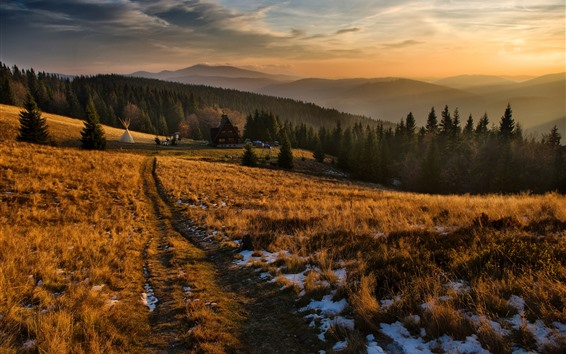 Papéis de Parede Árvores, grama, casa, vila, montanhas, crepúsculo, outono