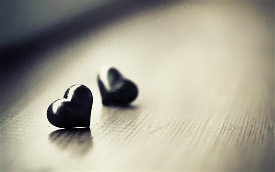 Обои Два черных любовных сердца