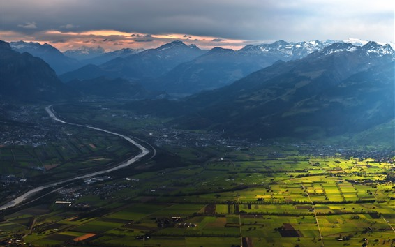 Wallpaper Village, countryside, fields, river, mountains, sun rays, morning