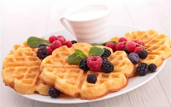 Papéis de Parede Biscoitos de waffle, leite