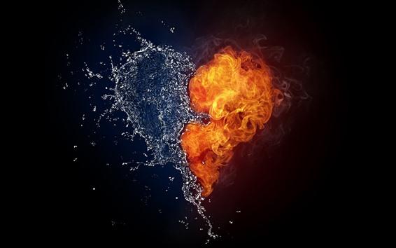 Fondos de pantalla Agua y fuego amor corazon