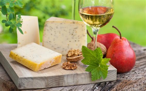 배경 화면 와인, 배, 치즈, 음식