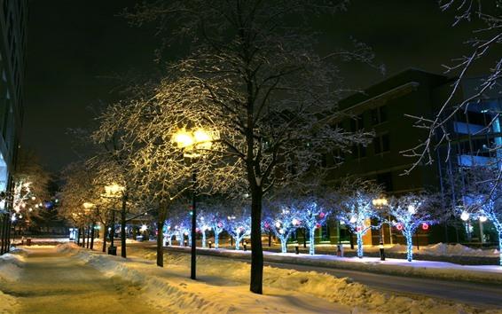 Papéis de Parede Inverno, árvores, neve, luzes, cidade, rua