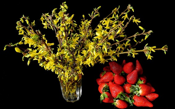 Wallpaper Yellow flowers and red strawberries, black background