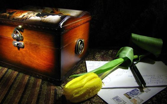 Papéis de Parede Tulipa amarela, gotas de água, caixa, correio