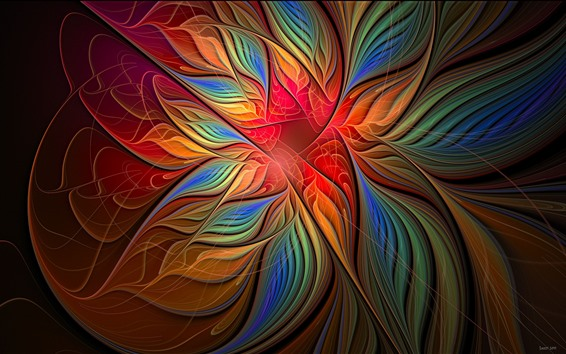 Wallpaper Abstract flower, colorful petals, creative design