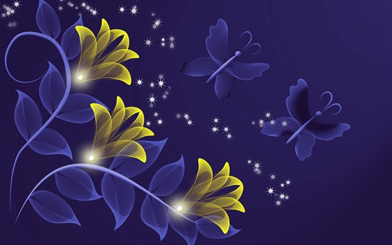 Wallpaper Abstract yellow flowers, butterfly, creative design
