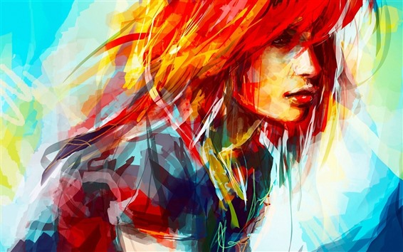 Wallpaper Art painting, colorful hair girl, face, abstract