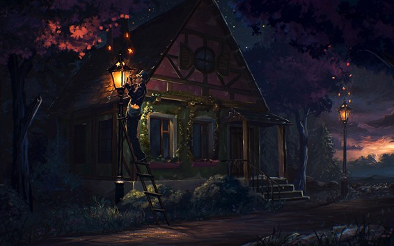Wallpaper Art painting, night, house, people, lights, trees, countryside