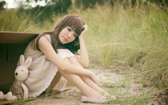 Wallpaper Asian girl, sit on ground, toy rabbit, grass