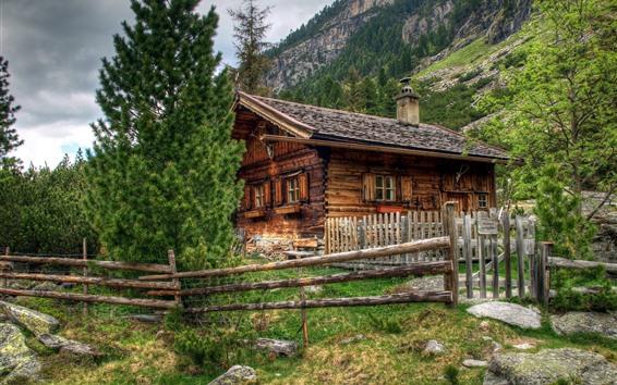 Обои Австрия, деревянный дом, забор, Альпы