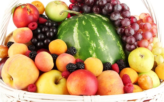 Fond d'écran Corbeille, fruits, pommes, pêches, raisins, pastèque, framboises