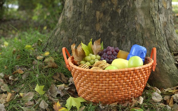 Wallpaper Basket, grapes, cookies, apples, picnic