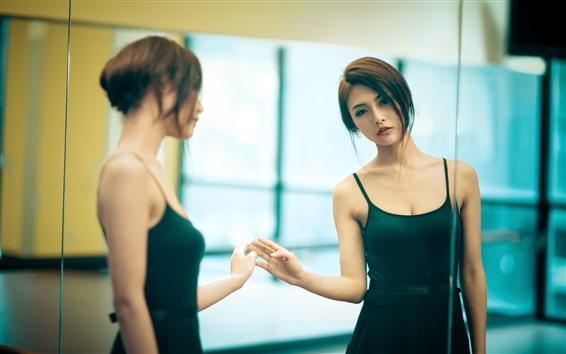 Wallpaper Beautiful Asian girl, look at mirror