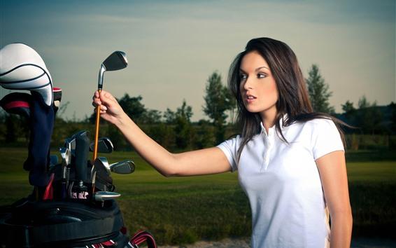 Papéis de Parede Menina bonita e taco de golfe