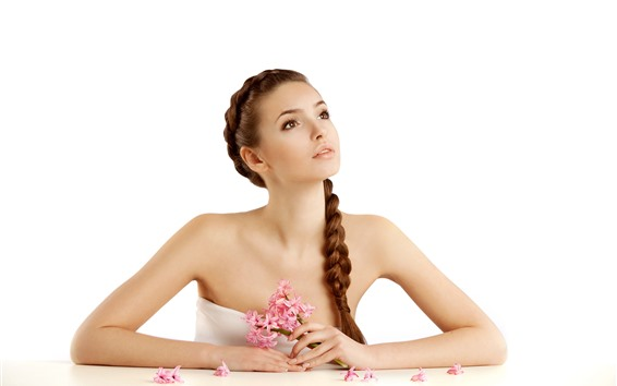 Wallpaper Beautiful girl, brown hair, braid, pink hyacinths flowers, white background