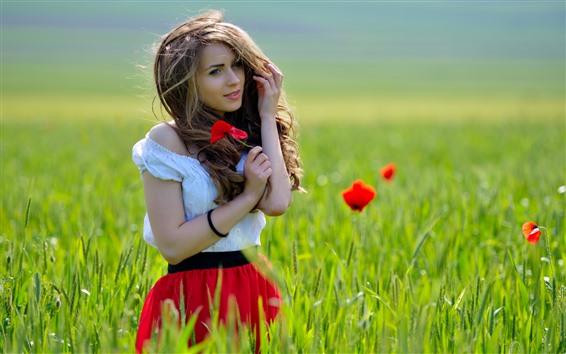 Обои Красивая девушка, шатенка, трава, цветы мака, лето