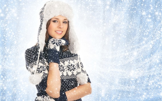 Wallpaper Beautiful girl, hat, coat, snowy