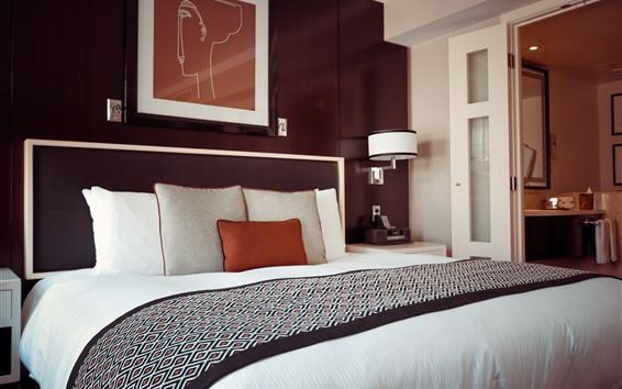 壁紙 ベッドルーム、ベッド、ホテル