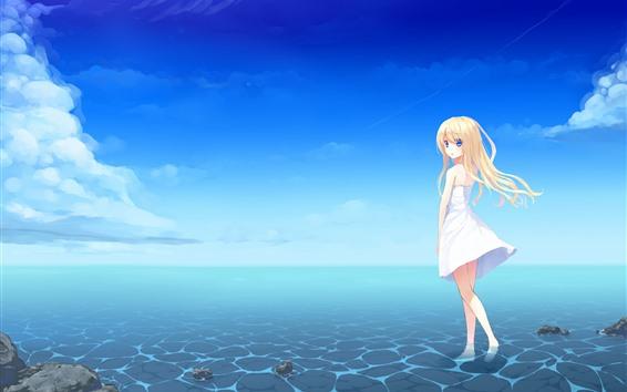 Wallpaper Blonde anime girl, blue eyes, skirt, sea, summer