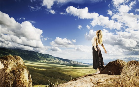 Wallpaper Blonde girl, back view, clouds, mountains, sunshine
