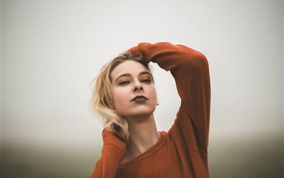 Wallpaper Blonde girl, pose, sweater