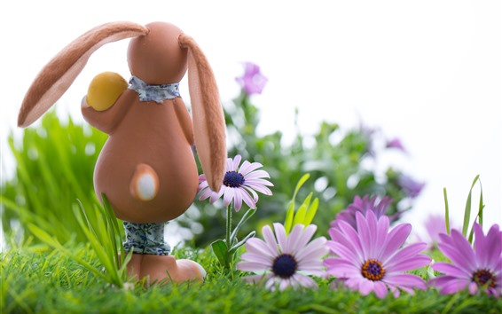 Wallpaper Bunny, pink flowers, egg, Easter, grass