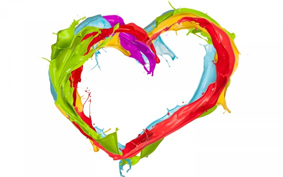 Wallpaper Colorful paint, love heart, splash, white background