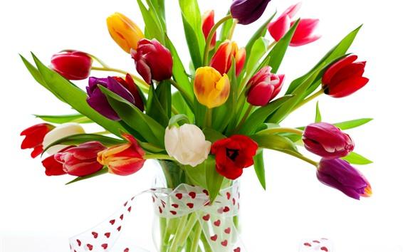 Обои Разноцветные тюльпаны, ваза, букет, белый фон