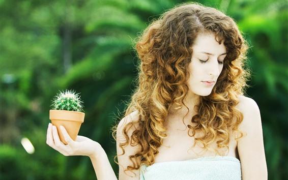 Wallpaper Curly hair girl, cactus, hand