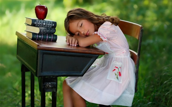 Wallpaper Cute child girl sleep, table, books, apple