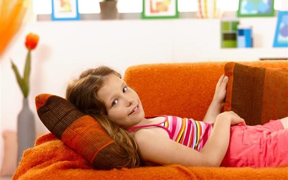 Wallpaper Cute little girl, rest, sofa