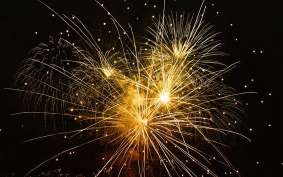Wallpaper Fireworks, light lines, night