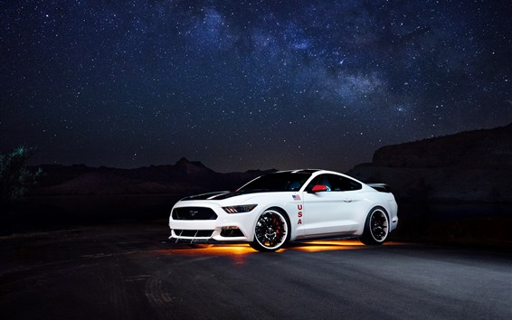 Wallpaper Ford Mustang white car side view, night, starry