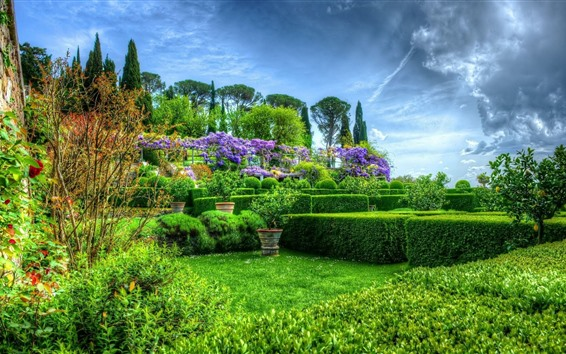 Wallpaper Garden, green, bushes, clouds, flowers