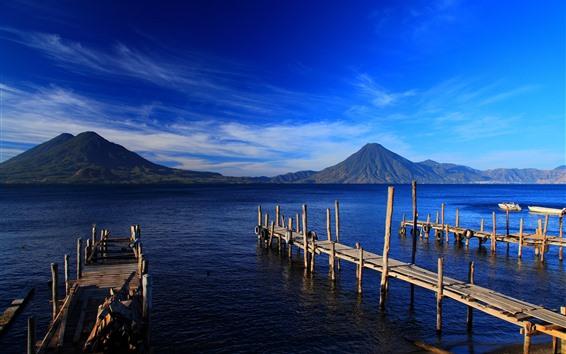 Fondos de pantalla Guatemala, isla, montañas, mar, muelle