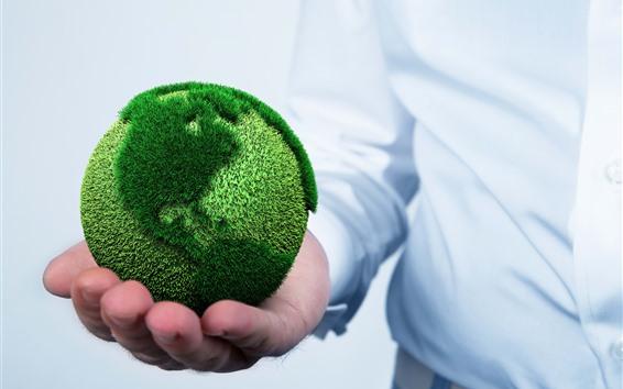 Wallpaper Hands, ball, earth, green