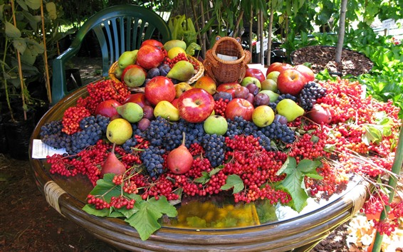 Wallpaper Harvest, apples, berries, pears, plums, many fruits